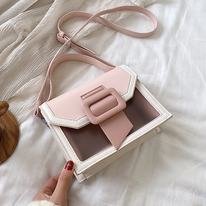 Contrast Color PU Leather Crossbody Bags For Women 2020 Cut Lady Small Shoulder Messenger Bag Female Travel Handbags