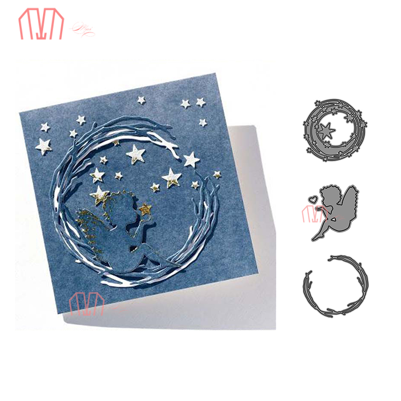 Mai Angel Circle Star Vine Metal Cutting Dies Stencils For DIY Scrapbooking Photo Album Decorative Embossing DIY Paper Card