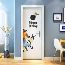 De dibujos animados pegatinas de perros para pared familia encantadora calcomanías de vinilo para la puerta de la habitación de los niños casa decoración de puerta de PVC de la pared/adhesivo