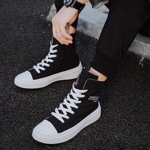 Image 3 - ฤดูใบไม้ร่วงชายรองเท้าสบายๆรองเท้าผ้าใบชายสีดำ Krasovki Tenis Hombre แฟชั่น Chaussures Homme Breathable High Top รองเท้าผ้าใบ Trainers
