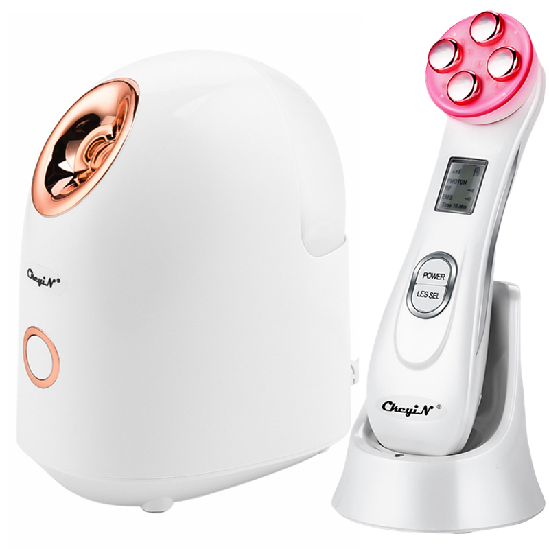EMS Mesotherapy RF Radio Frequency Face Beauty Massager + Professional Hot Facial Steamer Sauna Spa Nano Mist Deep Pore Cleanser