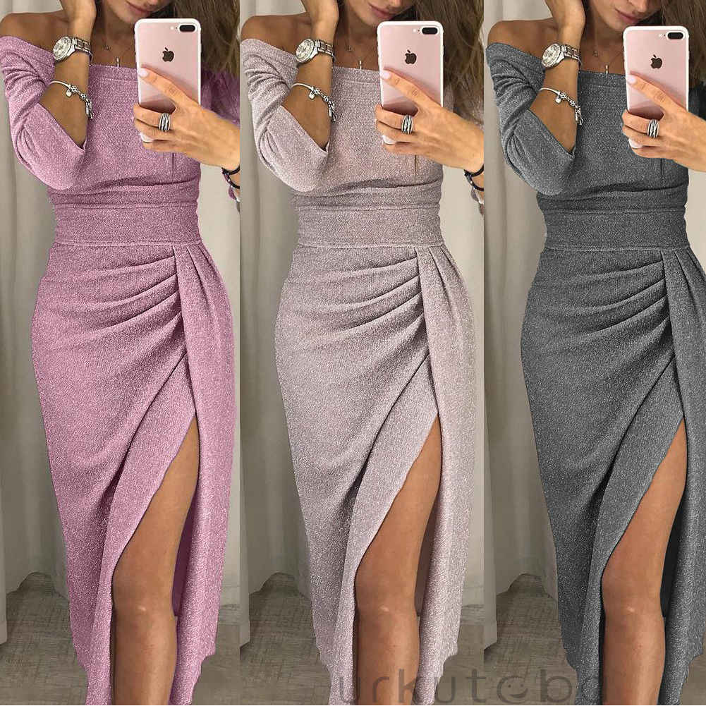 ZOGAA Vrouwen Off Shoulder Glitter Party Dress 2019 Hoge Split Peplum Jurken Herfst Elegante vrouwen Bodycon zomerjurk Vestidos