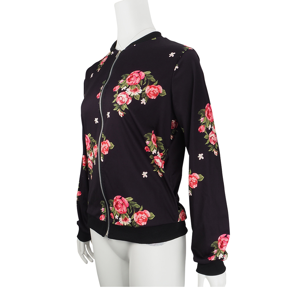 Print Bomber Jacket Women Flowers Zipper Up Retro Coat Spring Summer Long Sleeve Basic Plus Size Short Biker 51