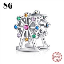 925 original sterling silver Ferris wheel beads with color stone fit Pandora Charms bracelet pendant for women jewelry making geoki 925 sterling silver treasure lock charms fit original pandora bracelet lucky pendant necklace beads jewelry making women