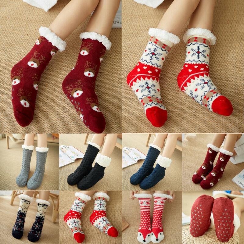 Home Warm Twist In Tube Socks Women Autumn Winter Soft Cozy Fuzzy Fleece-lined Xmas Gift With Grippers Slipper Indoor Wear Socks