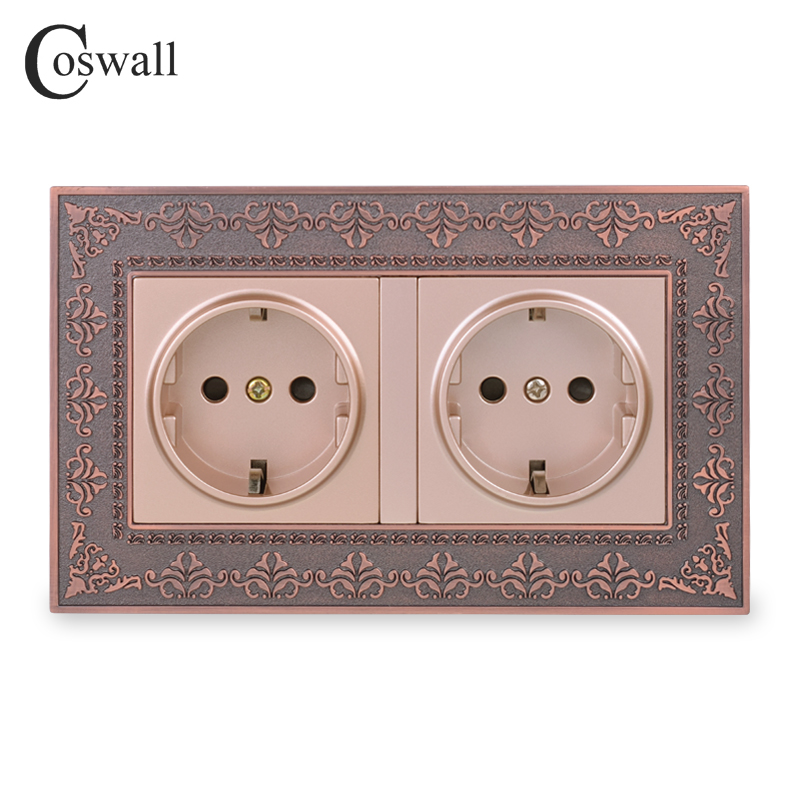 Coswall 16A Russia Spain EU Standard Double Power Socket Embossing Retro Zinc Alloy Metal Panel Wall Electrical Outlet Gold