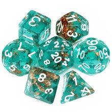 Haxtec Teal Rosegold Foil DND Dice Set 7PC D4 D6 D8 D12 D10 D% D20 Resin D&D Polyhedral Dice