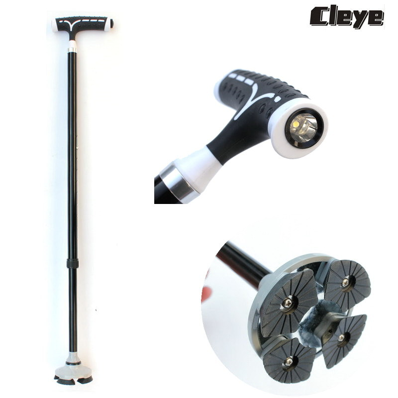 Thick Aluminium Alloy Telescopic Light Included Old Man Wand Durable Legs Folding Elderly Crutches