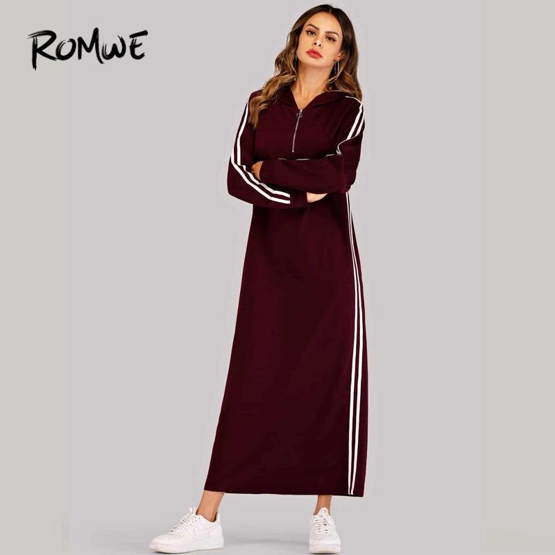 Image 4 - ROMWE Black Hooded Long Sleeve Straight Maxi Sweatshirt Dress  Women Spring Autumn Side Striped Tape Zipper Up H Hoodie  DressesDresses