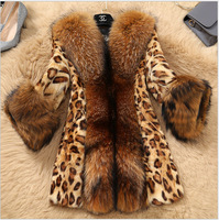Fashion Sexy Autumn Winter Faux Fur Jacket Ladies Coat Leopard Print Long Coat Fluffy Teddy Jacket with Raccoon Dog Fur Collar