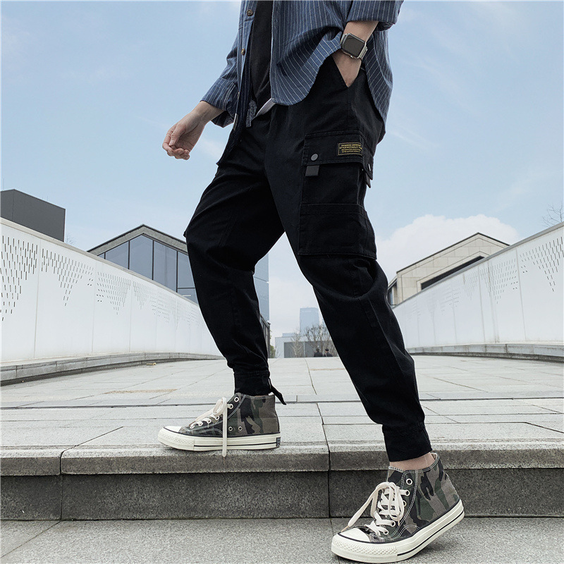 2019 Spring And Autumn New Style Men Pure Cotton Elastic Waist Bib Overall Casual Pants Harem Pants Sub-Men's 115-1