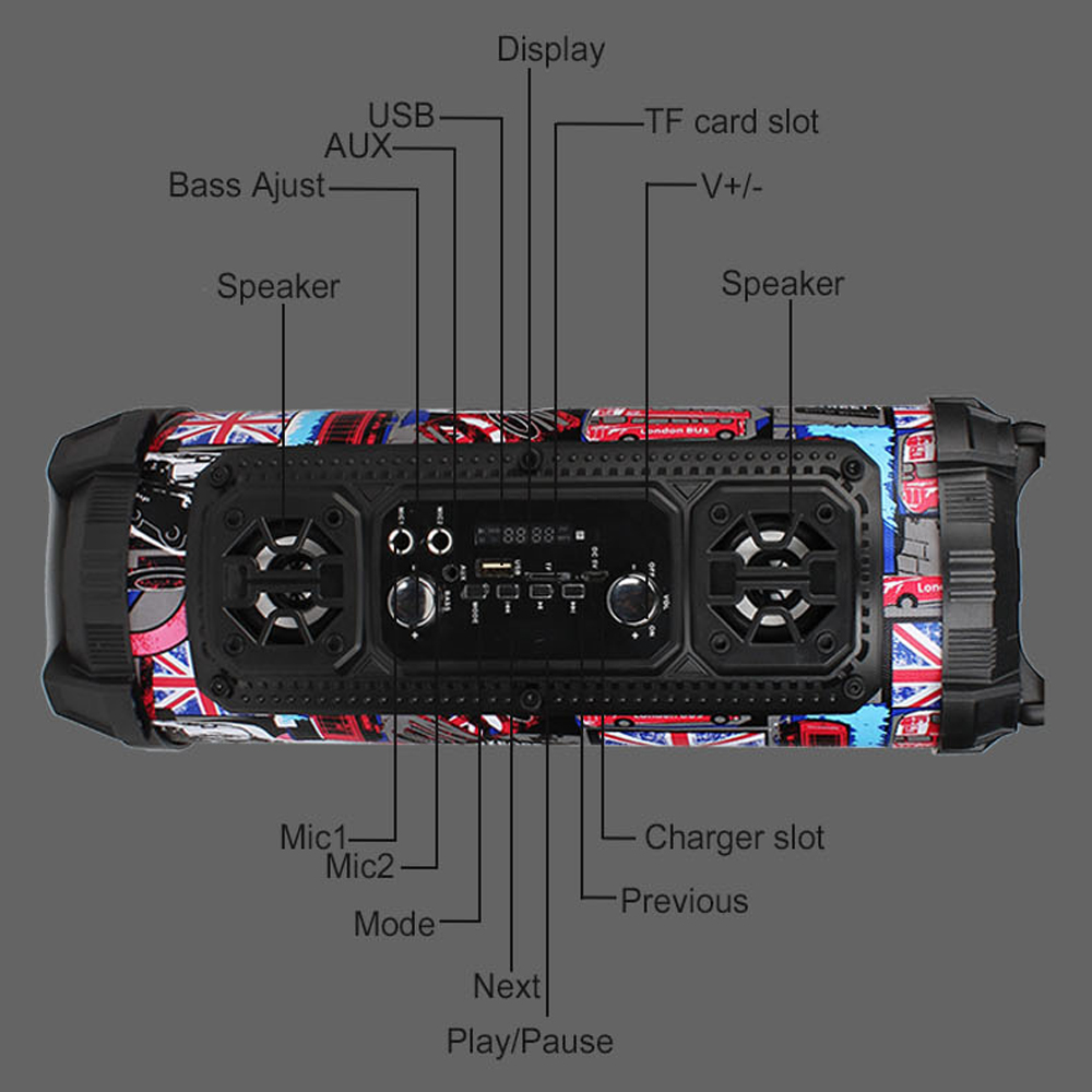 Big Portable Speaker Super Bass Bluetooth Speaker For Computer High Power 15W Subwoofer Music Center Boom Box with USB AUX FM 4