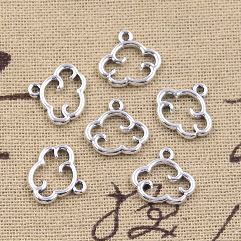 30pcs Charms Floating Clouds 13x15mm Antique Silver Color Pendants Making DIY Handmade Tibetan Finding Jewelry