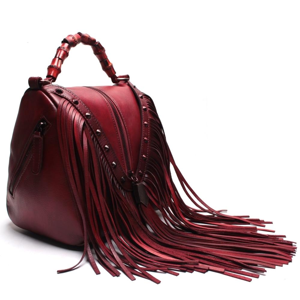 Handmade High Quality Cowhide Leather Handbags With Suede Tassels Genuine Women Shoulder Bag