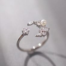 Cute Moon and Star Adjustable Rings 925 Imitation Pearl with Zircon Bling Stone For Women Fashion Jewelry