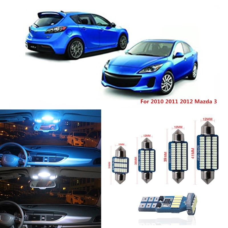 9 pièces Canbus T10 voiture lumière LED ampoules Kit intérieur pour 2010 2011 2012 Mazda 3 berline ou hayon carte dôme plaque d'immatriculation lampe 12V