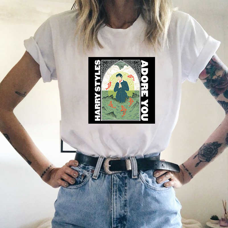 Camiseta de estilo Harry de Hip Hop, camiseta de verano con corte fino, amor en gira para mujeres, camiseta femenina Harajuku, camiseta gráfica Ullzang de los años 90