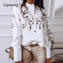 Botão de manga comprida blusa feminina outono inverno único breasted gola camisas escritório trabalho blusa impressão camisas blusa vintage