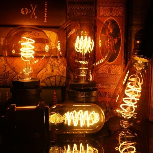 T45 ST64 G80 G95 G125 T225 Spiral Light LED Filament Bulb 4W 2200K Retro Vintage Lamps Decorative Lighting Dimmable Edison Lamp
