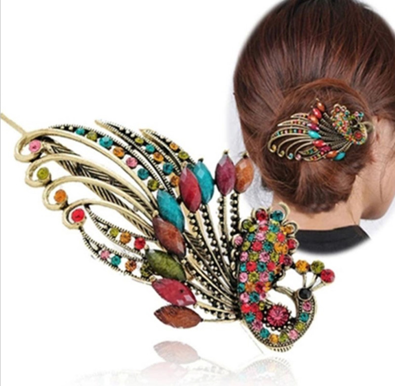 1PC Lovely Vintage Crystal Peacock Hair Clips Hairpins Barrette Donut Style Women Hair Accessories Beauty Tools Big Hairpins