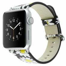 цена на Leather sports strap for apple watch band 44mm 40mm 42mm 38mm Flower pattern wrist band bracelet for Iwatch Series 5 4 3 2 1