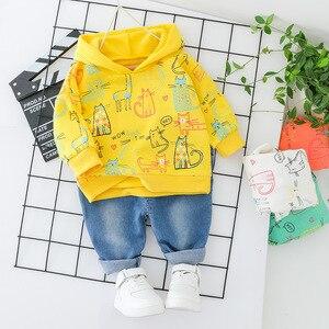 Image 3 - Ropa para bebés y niños niñas vestido con capucha superior + Jeans moda 2 uds. Ropa para niños gato ropa para niños conjunto naranja impresa