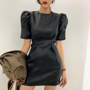 HziriP 2020 Spring PU Leather Women Dresses Puff Sleeve Slim Waist Bodycon Dress Female Solid Office Lady Faux Leather Vestidos