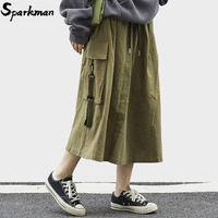 2019 Harajuku Women Skirt Streetwear Hip Hip Cargo Skirt Big Side Pockets Fashion Korean Skirt Loose A Line Calf Length Cotton