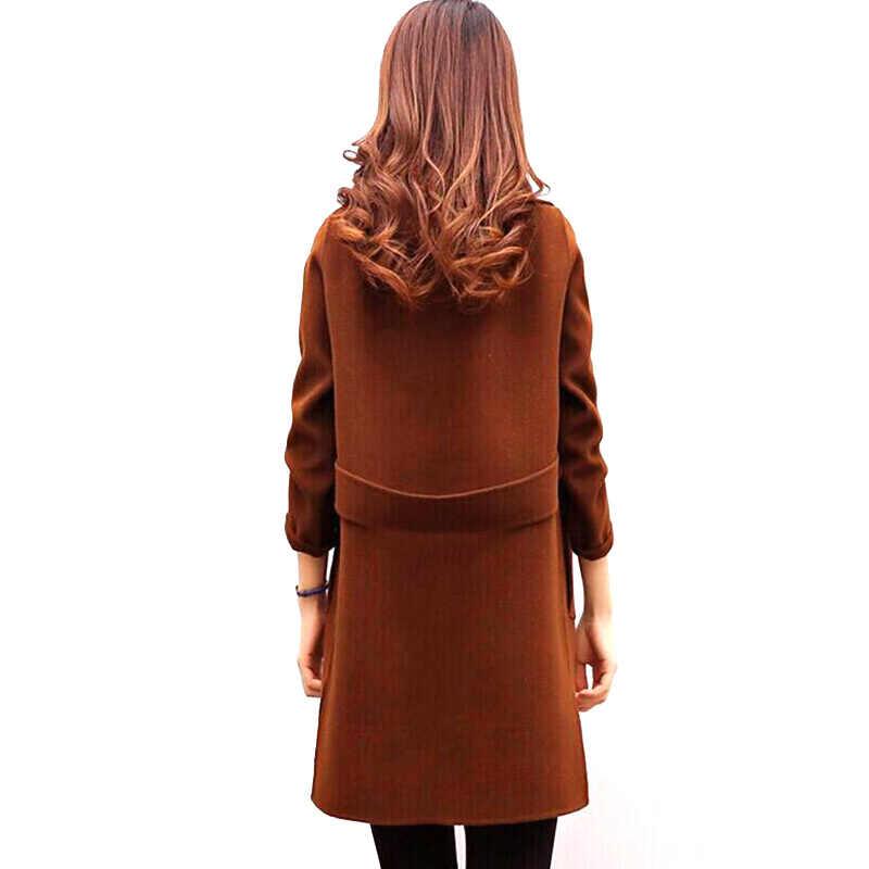 Vrouwen Wollen Overjas Herfst Winter Kasjmier Outerwea Wol Blend Warme Lange Jas Plus Size Vrouwelijke Slim Fit Revers R