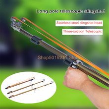New Telescopic Slingshot Stainless Steel Bow Head Alloy Telescopic Rod High Power Flat Rubber Band Slingshot Outdoor Hunting
