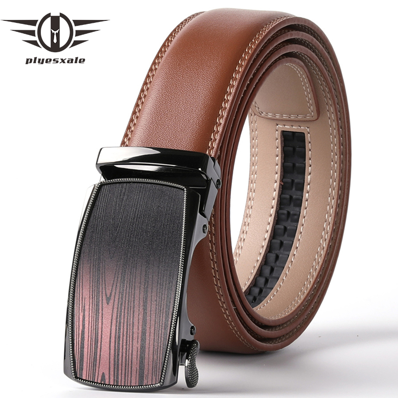 Plyesxale Brown Genuine Leather Belt Male Automatic Ratchet Buckle Men Casual High Quality Belt Mens Belts Luxury Design B80