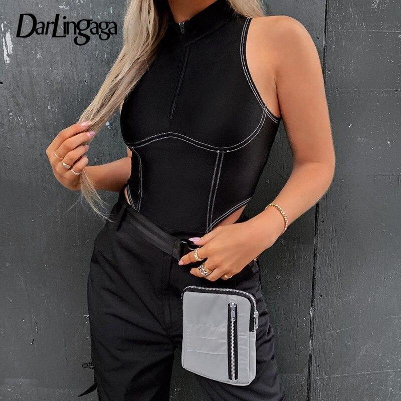 Darlingaga Streetwear Stripe Line Zipper Bodycon Bodysuit Women Sleeveless Body High Neck Basic Tank Bodysuits High Cut Jumpsuit