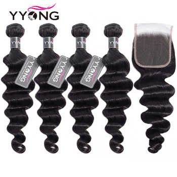 Yyong Hair 3 / 4 Brazilian Loose Deep Wave Bundles With Closure 100% Remy Human Hair Weave Bundles With Lace Closure Can Be Dyed - DISCOUNT ITEM  50% OFF All Category