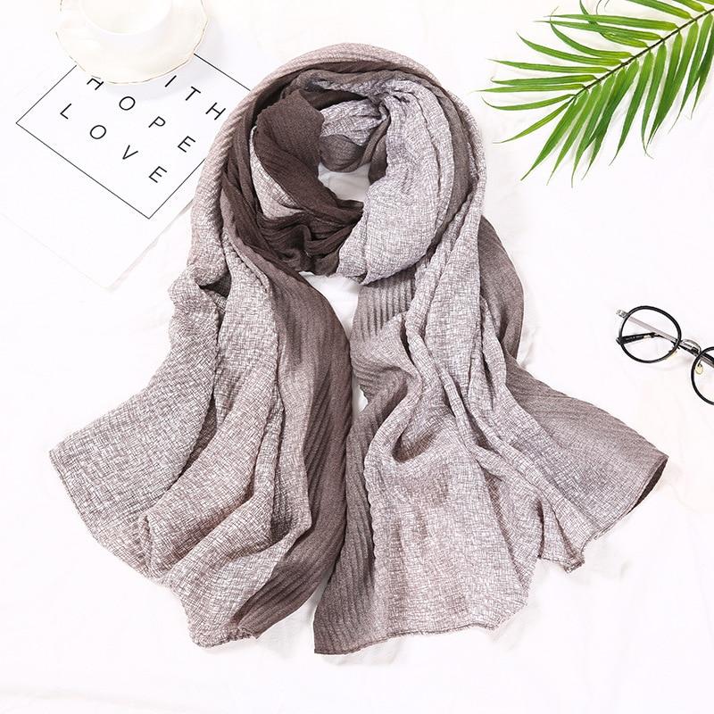 New 2020 Luxury Fashion Ombre Wrinkle Viscose Shawl Scarf Lady Gradient Wrap Pashmina Stole Bufandas Muslim Hijab Snood 180*90Cm