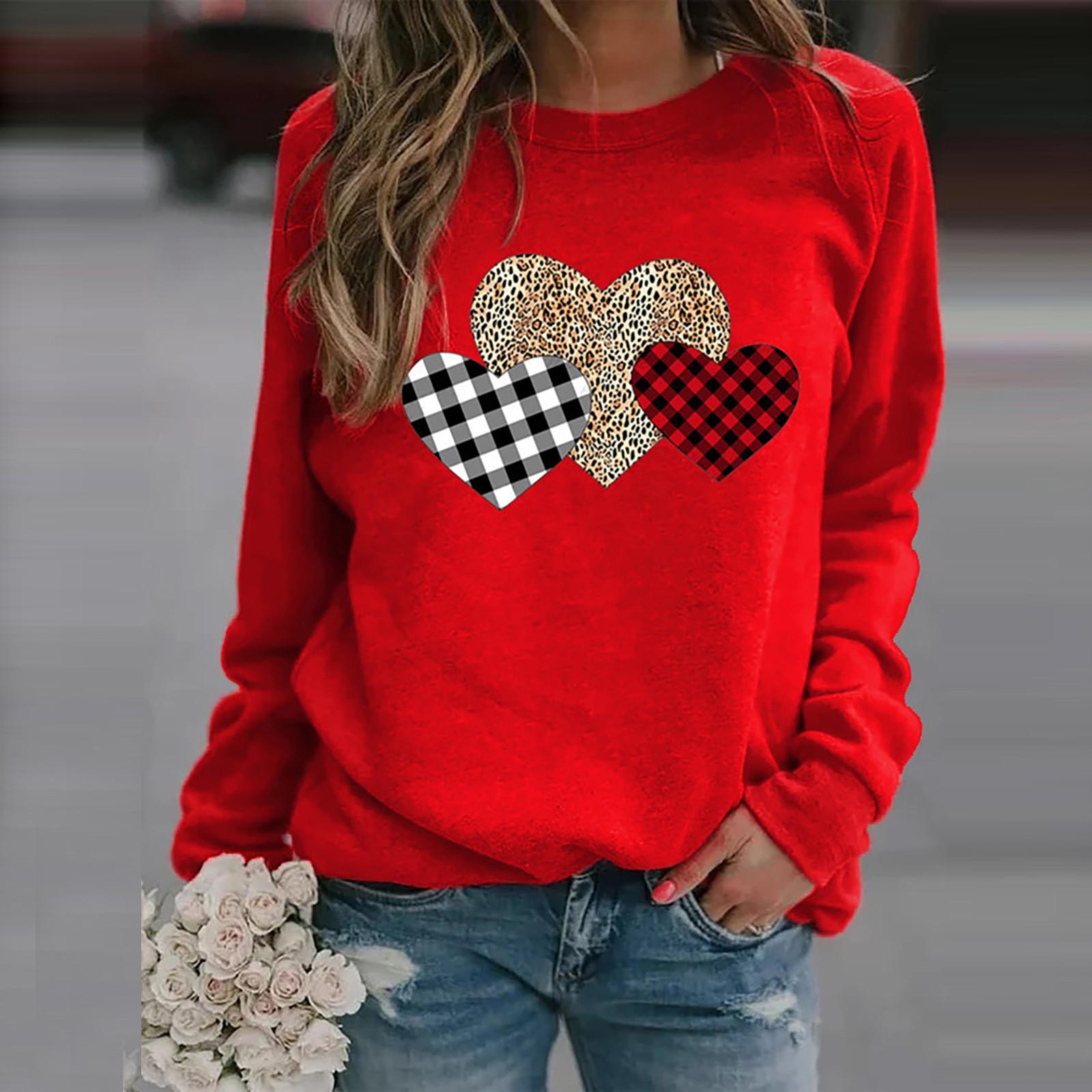 4# Women's Leopard Love Print Blouses Long Sleeve Printed Loosen Tops Shirts 2020 Fashion Women Blouses Shirt Рубашка Женская