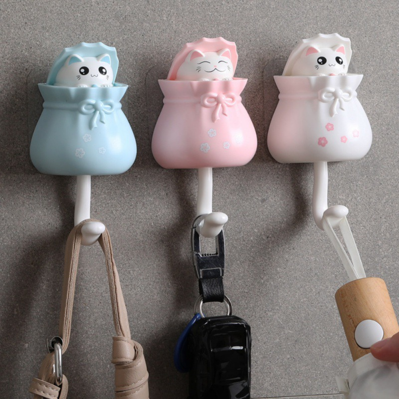 Household Cartoon Cat Decorative Hooks Key Holder Wall Mounted Adhesive Coat Hanger Hat Rack Key Sundries Organizer Accessories