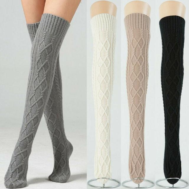 Women Lady Wool Warm Knit Over Knee Thigh High Stockings Socks Pantyhose F9H7