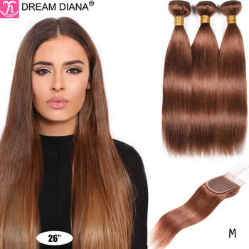 DreamDiana Remy Pre Colored Hair Bundles With Closure 2 4 30 99J Burgundy Colored Brazilian Straight Hair Bundles With Closure M