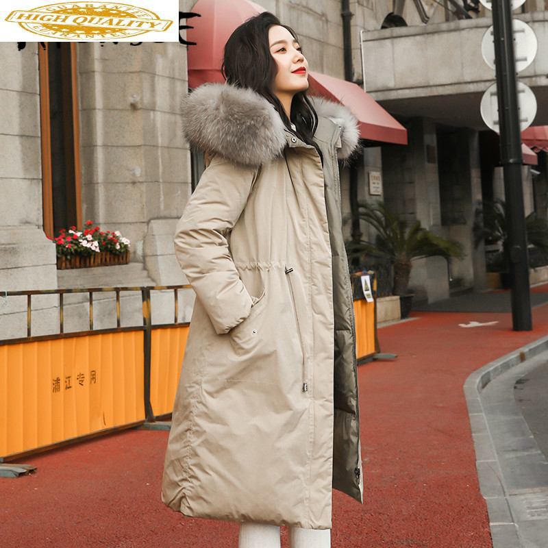 90% White Duck Down Jacket Women Two Side Wear Raccoon Fur Collar Puffer Jacket Women Down Coat Warm Parka YT717F240-3 YY1634