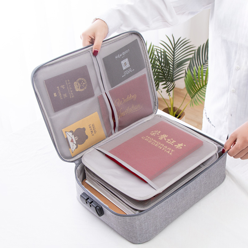 Big Capacity Passport Documents Package Travel Bag Pouch ID Credit Card Wallet Cash Holder Organizer Case Box With Code