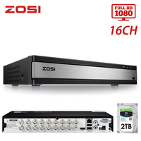 ZOSI 16 Channel 4 in 1 TVI AHD CVBS CVI 1080P CCTV Video Auto Recorder Motherboard DVR for Video Surveillance System DVR Kit
