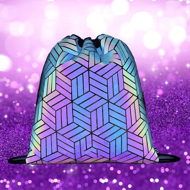 Geometric Fluorescent Drawstring Woman Luminous Bag Holographic Lady Shoe Bag Large Capacity Fashion Mochila