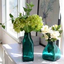 Европейские креативные цветные стеклянные ремесленные вазы декоративные для дома стеклянные украшения геометрический квадратный цветок