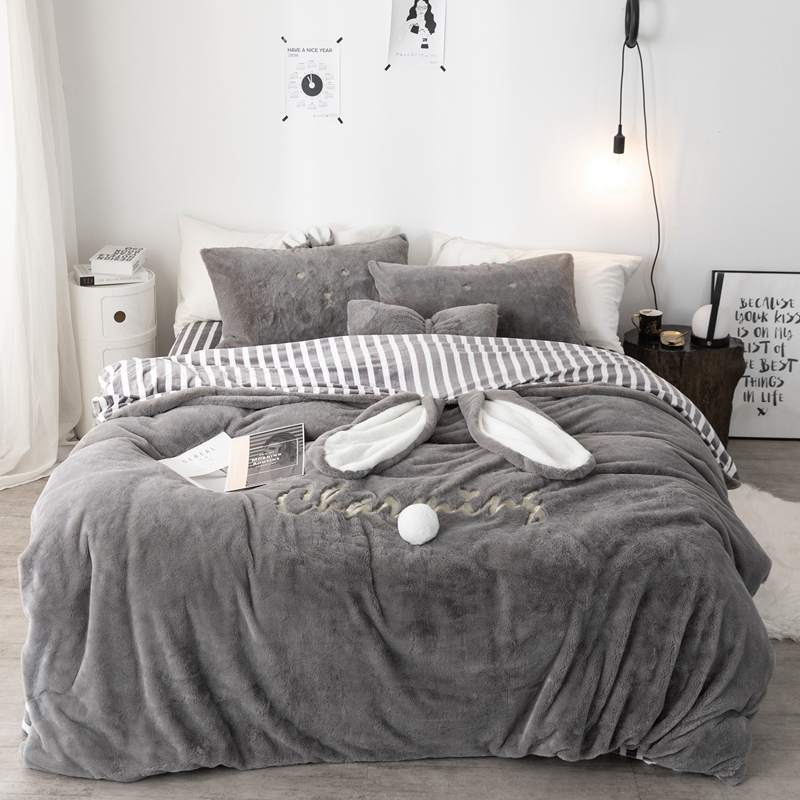 Winter Cartoon Gray Bunny Ears Velvet Bedding Sets Flat Sheet Duvet Cover Pillowcase Flannel Warm Bed Linen Queen King #sw
