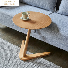 Solid Wood Coffee Table Multifunction Round Side Table Minimalist Bedside End Table Small Desk Living Room Table Home Furniture