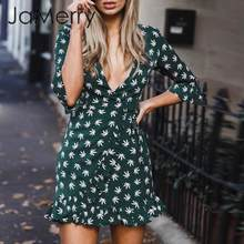 JaMerry Casual leaves print women dress Ruffled sleeve chiffon female summer dress Streetwear holiday ladies chic shrot dress(China)
