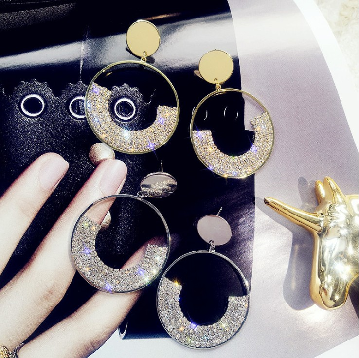2020 New 925 Silver Needle Luxury Shiny Golden Geometric Round Crystal From Swarovskis Earrings For Women's Party Jewelry