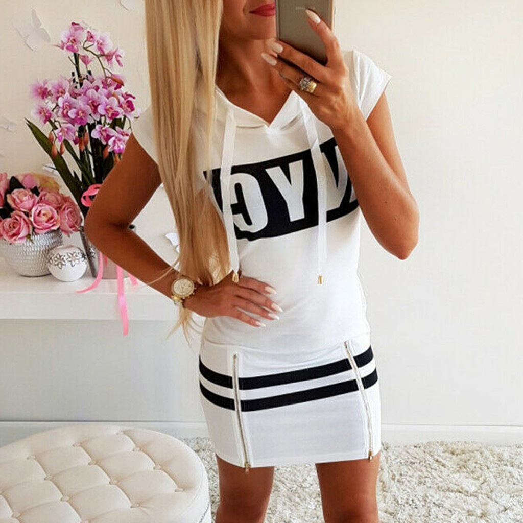 Women Fashion Pullover Zipper Dresses Hooded Print Slim Fit Loose Short Sleeve Dress Split O-Neck Sexy Mini Brief Dresses 2021