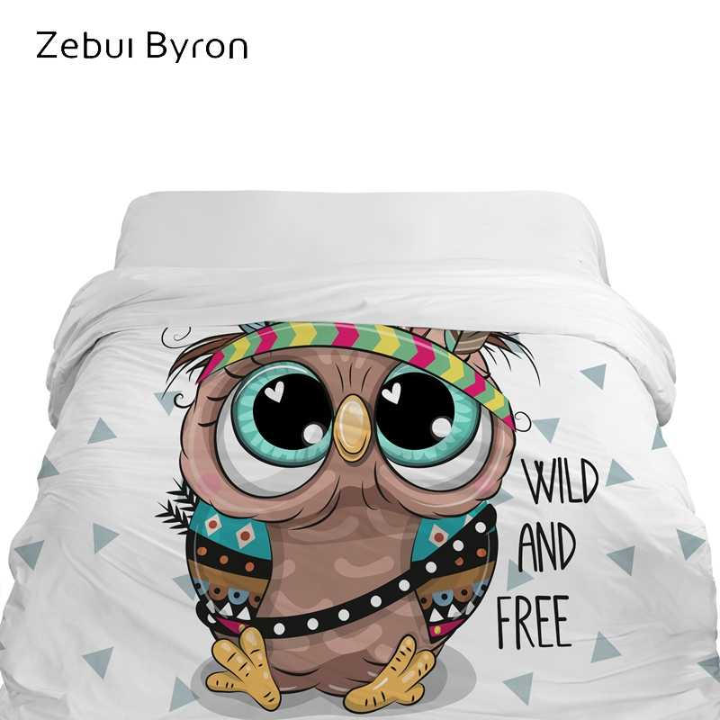 3D Cartoon Duvet Cover,comforter/Blanket Cover for kids/baby/children,Quilt cover for 90/150/135 bed,Bedding owl