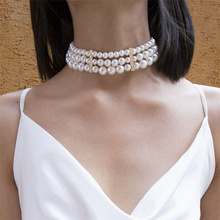 Gothic Layered White Pearl Choker Necklace for Women Elegant Handmade Party Jewelry Gift цена